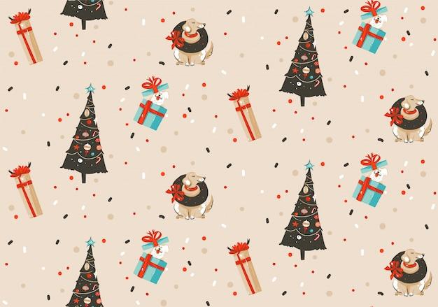 手描き抽象楽しいメリークリスマスと新年あけましておめでとうございます時間漫画パステル背景にクリスマスツリーと犬のかわいいイラストが素朴なお祭りのシームレスパターン。