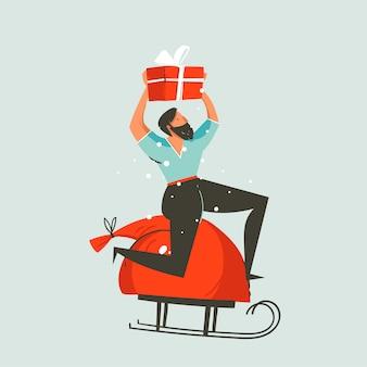 手描き抽象楽しいメリークリスマスと新年あけましておめでとうございます時間漫画イラストグリーティングカードクリスマス男と青の背景にサプライズギフトボックス。