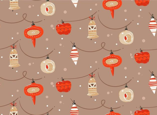 手描き抽象楽しいメリークリスマスと新年あけましておめでとうございます時間漫画パステル背景にクリスマスツリーのおもちゃ電球ガーランドのかわいいイラストが素朴なお祭りのシームレスパターン。