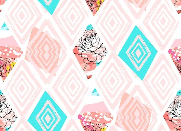 手は、色付きの背景にパステルカラーの春の花をモチーフにした抽象的なフリーハンドテクスチャコラージュシームレスパターンを描画します。結婚式、日付、誕生日、ファッション生地、装飾を保存します。
