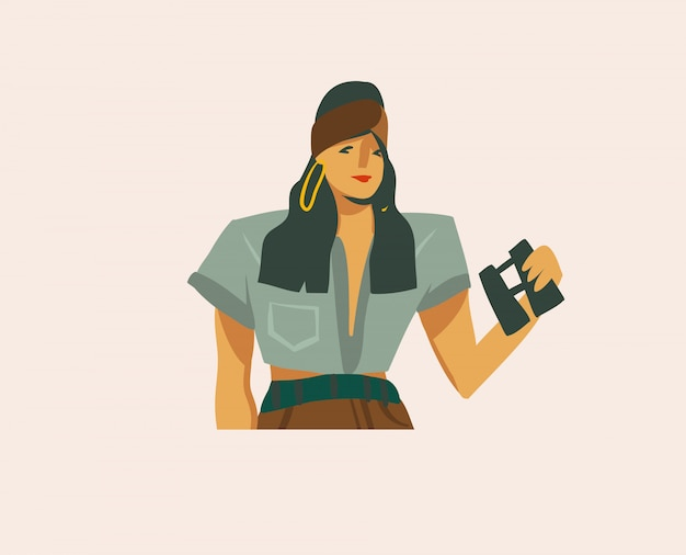 Нарисованная рукой абстрактная графическая иллюстрация запаса при девушка смотря бинокль на одичалом сафари на белой предпосылке
