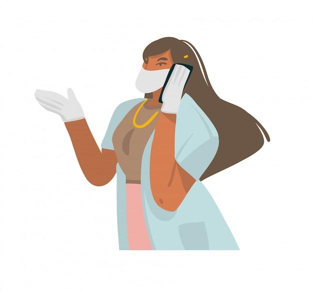 Нарисованная рукой абстрактная графическая иллюстрация с женщиной-врачом дает рекомендации по телефону, хорошо защищены в маске и перчатках на белом фоне