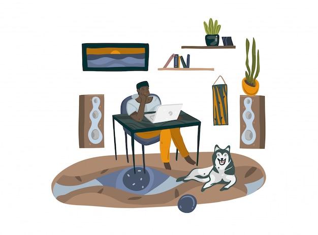 Нарисованная рукой абстрактная графическая иллюстрация шаржа с характером человека, фрилансер работая дома с портативным компьютером и сидя на столе на белой предпосылке