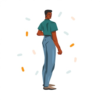 Нарисованная рукой абстрактная иллюстрация запаса графическая с молодым счастливым человеком красоты, в обмундировании моды на белой предпосылке.