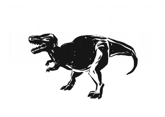 手は、白い背景の上の恐竜の織り目加工の細工されたシルエット装飾イラストを描く抽象的なインクブラシグランジを描画します。