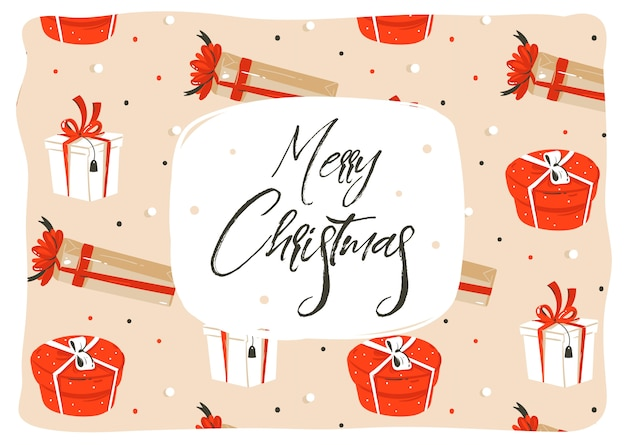 手描き抽象楽しいメリークリスマス漫画イラストグリーティングカードの多くのカラフルな驚きのギフトボックスとクラフト紙の背景に分離された現代の大まかなクリスマス書道