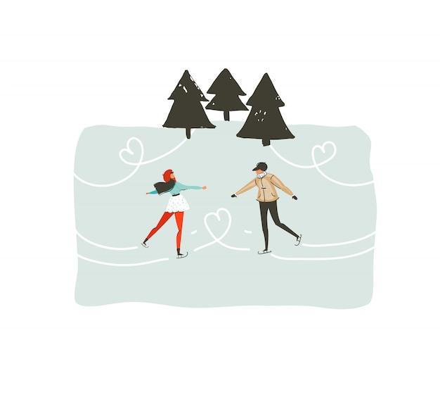 白い背景に分離された凍った森でスケートをする若いカップルと手描きの抽象的な楽しいメリークリスマス時間漫画イラスト
