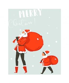 手描きの抽象的な楽しいメリークリスマス時間漫画イラストカードとサンタクロースの大小の家族と一緒に青い背景の上を歩いてサプライズバッグ。