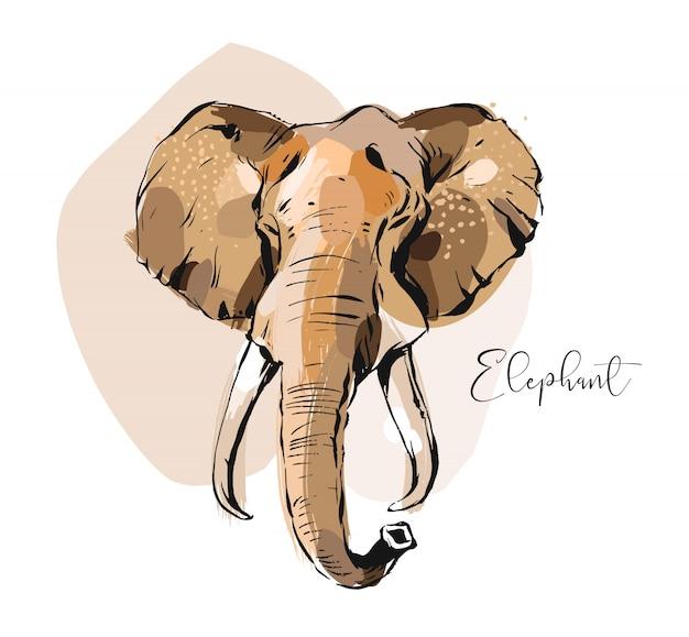 Ручной обращается абстрактные творческие графические художественные иллюстрации коллаж с эскизом рисунок головы слона на белом фоне