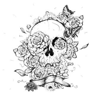 死者の頭蓋骨と花のイラスト