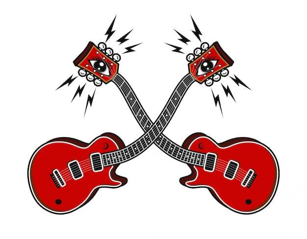 サイケデリックな概念ベクトル図とエレキギター