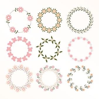 花のフレームコレクション。かわいいレトロな花の花輪のセット