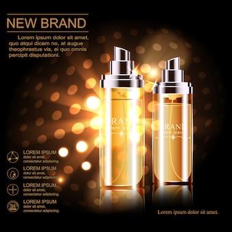 Совершенно новый шаблон косметической рекламы, стеклянная бутылка капель эфирного масла, изолированных на коричневом фоне.