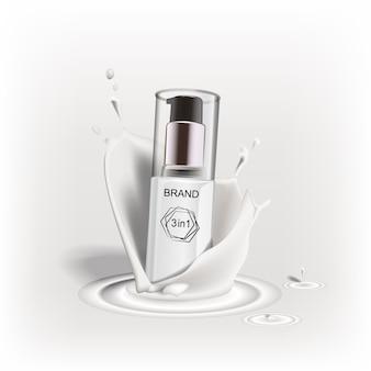新ブランドデザインの化粧品広告商品。クリーム、牛乳、液体のしぶき。