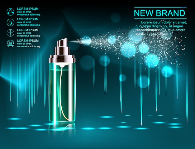 絶妙な化粧品の広告テンプレート、輝く背景のボケ味とまばゆいばかりの効果を持つ空の化粧品モックアップ、化粧品スプレーボトル、チューブ。