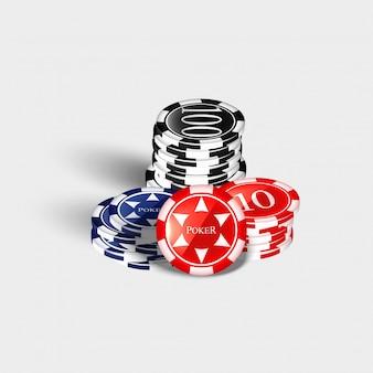 Куча фишек казино разной высоты