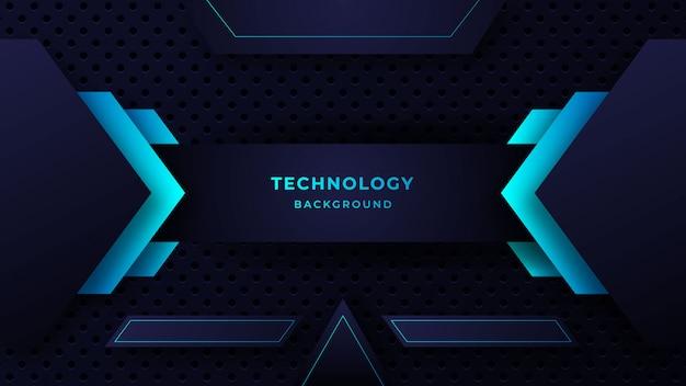 輝く青いドットの組み合わせで現代の抽象的な技術の背景