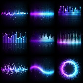 音波、周波数パターン付き音楽オーディオイコライザー