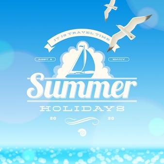 Летние каникулы эмблема и чайки на фоне солнечный пейзаж.