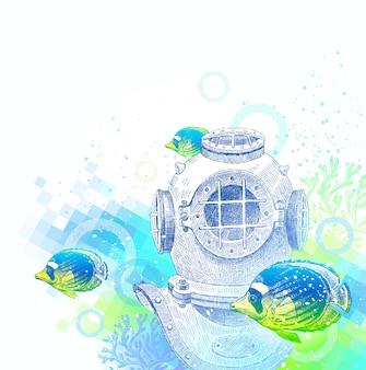 手描きイラスト-熱帯魚とビンテージダイビングヘルメットの水中世界