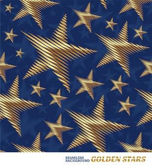 金色の星とのシームレスなパターン
