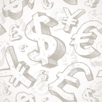 Бесшовный фон с рисованной знаки валюты