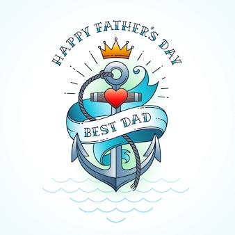 Счастливая поздравительная открытка дня отцов, классический дизайн стиля татуировки. иллюстрации.