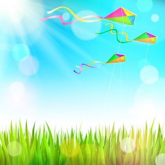 Иллюстрация весны с летающими воздушными змеями