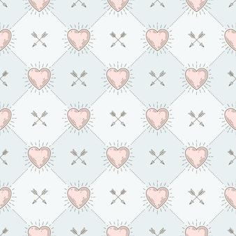 Бесшовный фон с сердечками и стрелами - рисунок