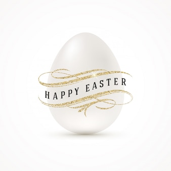 白い卵とキラキラのゴールドの装飾-イラストとイースターの挨拶。