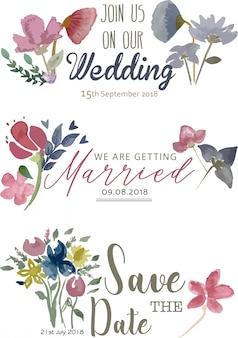 Свадебное объявление, сохранить карты даты с акварельными цветами