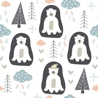 白いクマのパターン。スカンジナビアのデザイン。手描きのノルディックデザイン。