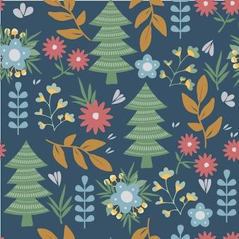 Цветы и деревья на фоне рождества. современная картина природы. нордические элементы