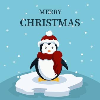 Рождественская открытка милый ребенок пингвин