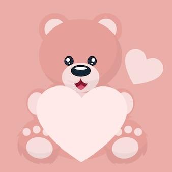 書くための心の献身と赤ちゃんクマバレンタインカード
