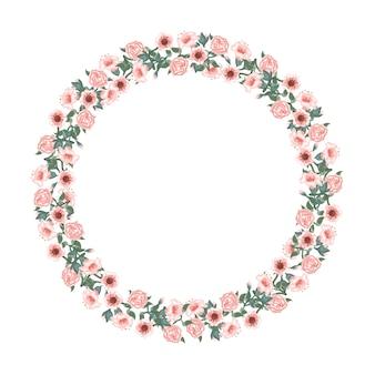 バラと赤いチューリップの美しいアーチ