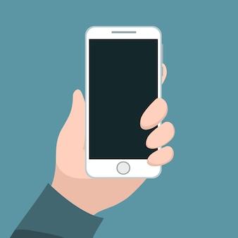 彼の手で携帯電話を握っている人