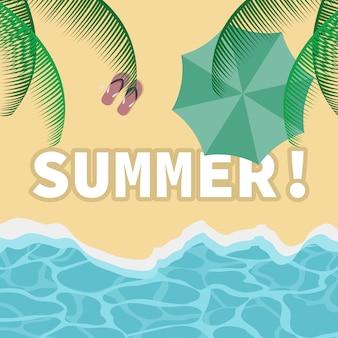 Пляжный вид сверху летний дизайн