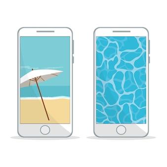 Дизайн мобильного телефона с пляжными обоями