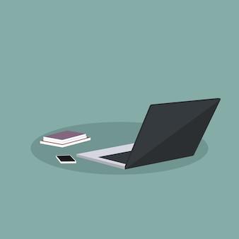 ノートパソコンと事務用品のデザイン
