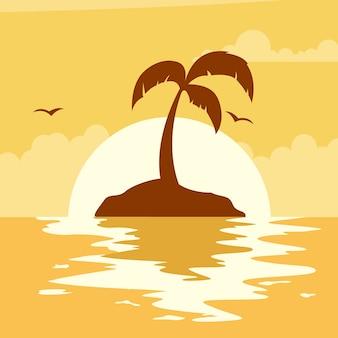 Красивый летний закат с солнцем на пляже