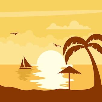 Летний закат с солнцем на пляже с парусником