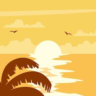 Красивый закат дизайн на пляже