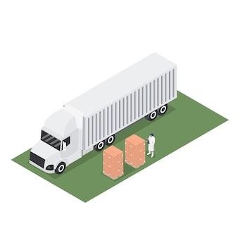 輸出パレットの出荷とトレーラーコンテナーの等尺性