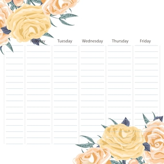 Творческое школьное расписание с цветами и листьями по углам