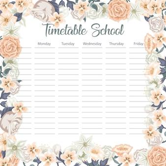 Творческое школьное расписание с цветами и листьями