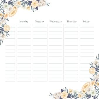 花を持つ創造的な学校のスケジュールカード
