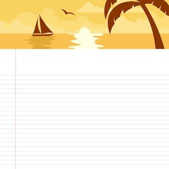ビーチで夕日をテーマにした学校の時間割カード