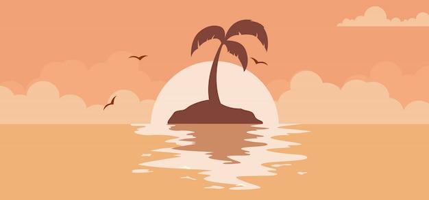 ビーチで太陽と美しい夏の夕日を背景