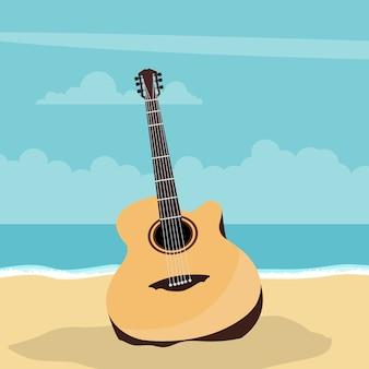 夏のビーチとアコースティックギターのデザイン